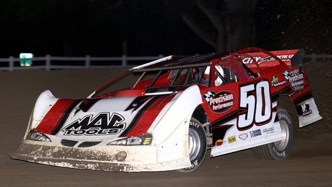 Denny Eckrich won his second Deery Brothers Summer Series main event of the season Wednesday night at Maquoketa Speedway. The IMCA Late Model tour victory paid $2,000. (Photo by Chris Damitz)