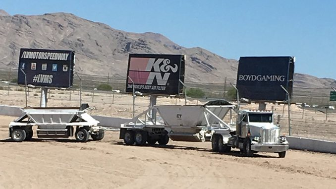 With 120 trailer loads of new material already added to the Las Vegas Motor Speedway Dirt Track, work on the racing surface will continue every day right up to the Nov. 9-12 IMCA Duel In The Desert.