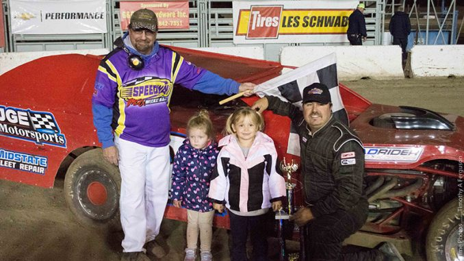 Bobby Hogge IV was the $3,000 Xtreme Motor Sports IMCA Modified feature winner at Siskiyou Motor Speedway's Rod Restad Memorial. The Saturday checkers were Hogge's 13thof the season. (Photo courtesy of Siskiyou Motor Speedway)