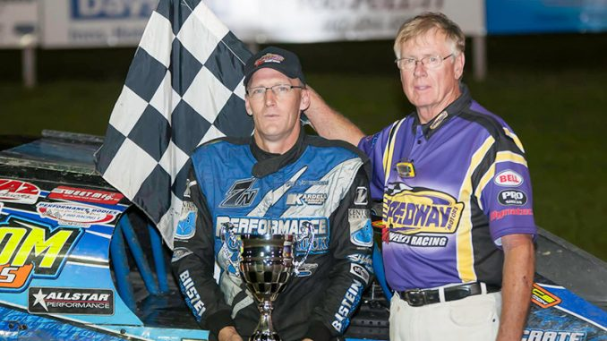First-and second-place showings at Park Jefferson's Sept. 17-18 special earned overall Xtreme Motor Sports IMCA Modified Iron Cup honors for Jay Noteboom. (Photo by Jim Steffens)