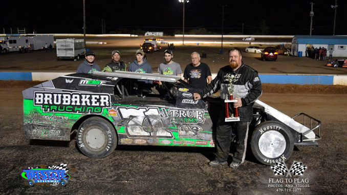 Jeff James led green to checkered in winning the Xtreme Motor Sports IMCA Modified feature at Tri-State Speedway's Spooker special. (Photo by Flag to Flag Photos and Videos)