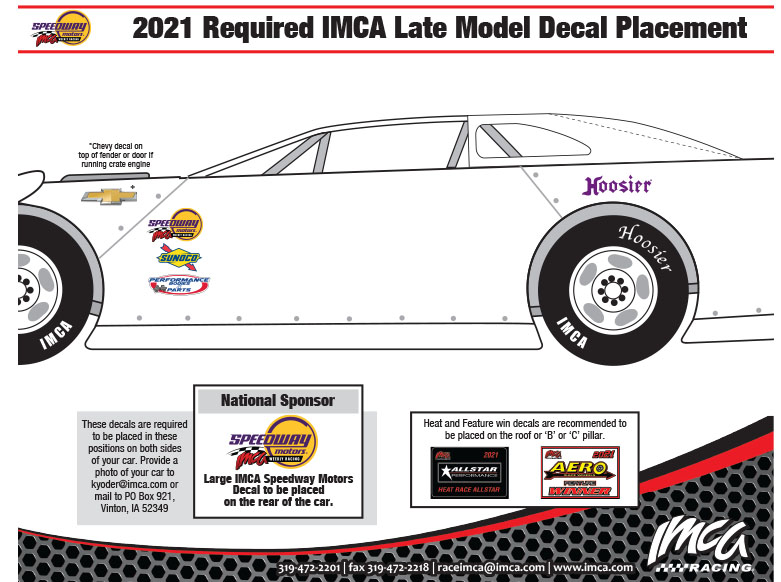 2021 IMCA Late Model Decal Placement