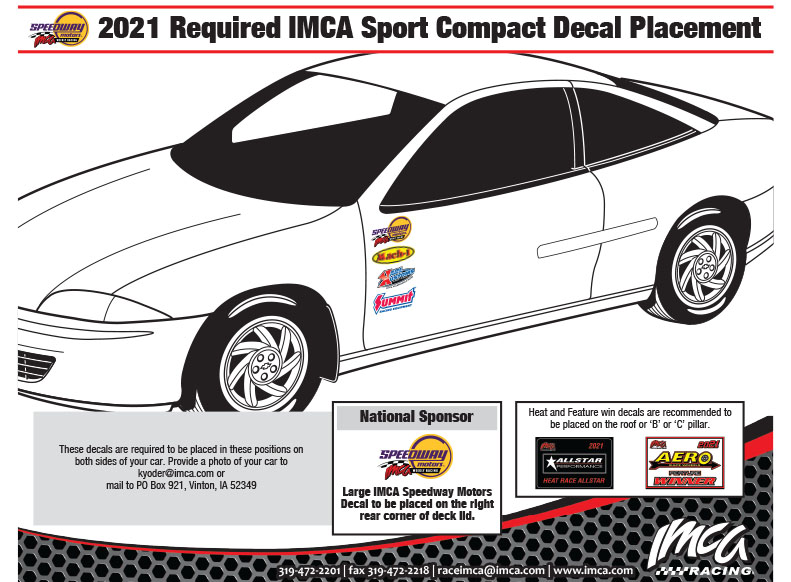 2021 IMCA Sport Compact Decal Placement