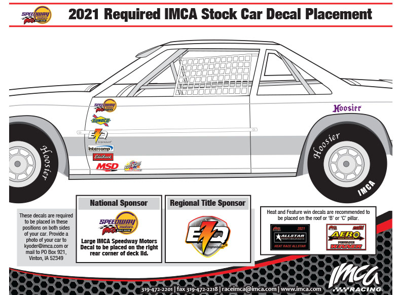 2021 IMCA Stock Car Decal Placement
